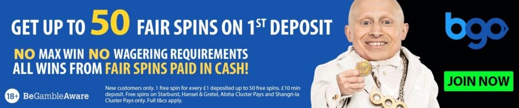 Casino offer - Get up to 50 Fair Spins on 1st Deposit