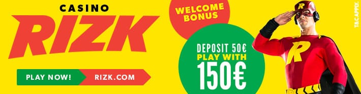Casino Rizk - Deposit 50 play with 150 promotion banner