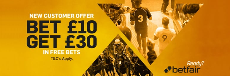 Betfair - Stake £10 and get £30 in free bets