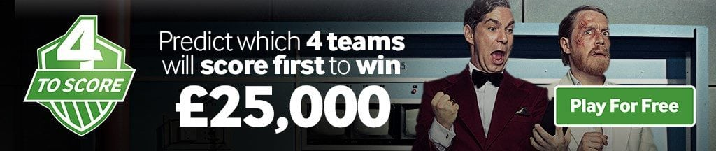 Predict first 4 teams to score and win £25,000 cash prize
