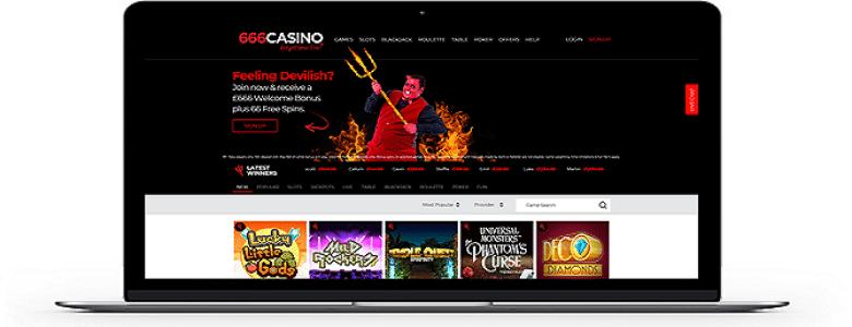 666 Casino homepage image