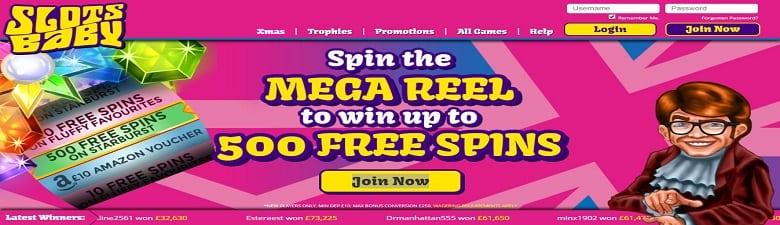 Slots Baby's online casino homepage