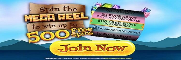 Win 500 free spins at Slots Kingdom