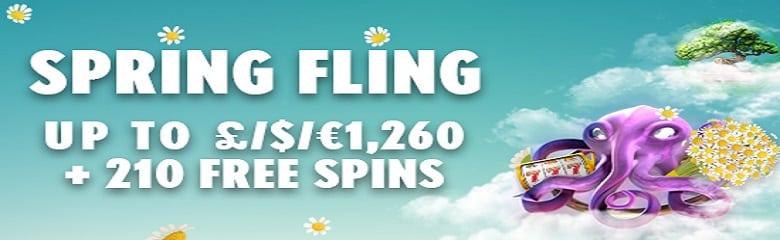 Spring Fling Casino promo | 210 free spins + £1260 bonus cash