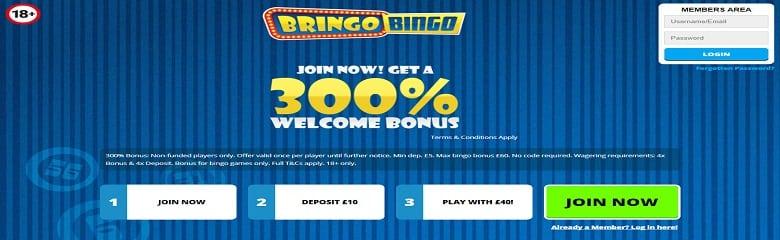 Bringo Bingo Site UK - 300% Welcome Bonus