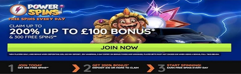 200% match bonus and 300 free spins