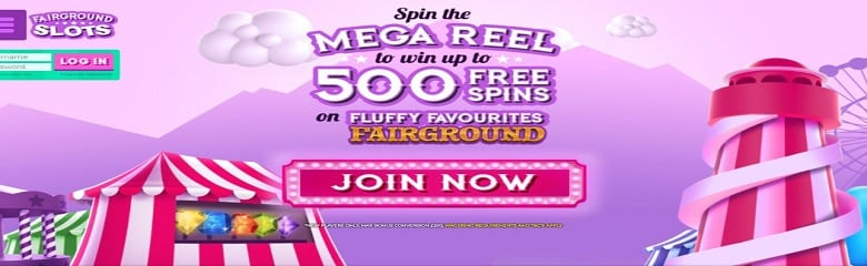 Win up to 500 free spins on Fluffy Favourites Fairground Slot Game