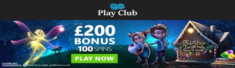 £200 bonus + 100 Spins at Play Club online casino site