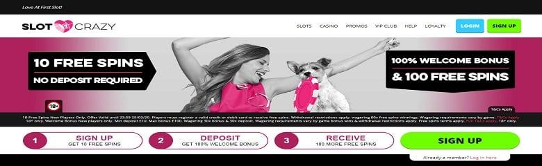 Slot Crazy homepage - 10 free spins no deposit
