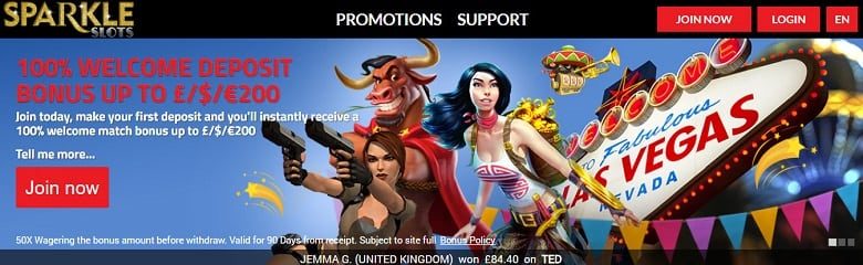 100% Welcome Deposit bonus up to £200 to spend on a range of online slots