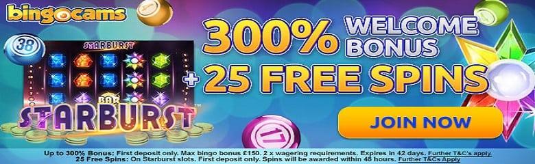 Starburst slot offer, 25 free spins at bingocams