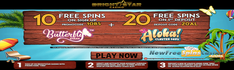 free spins on Butterfly Staxx and Aloha! Cluster pays