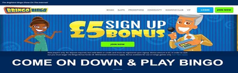 Sign up £5 Bonus no deposit needed - Bringo Bingo