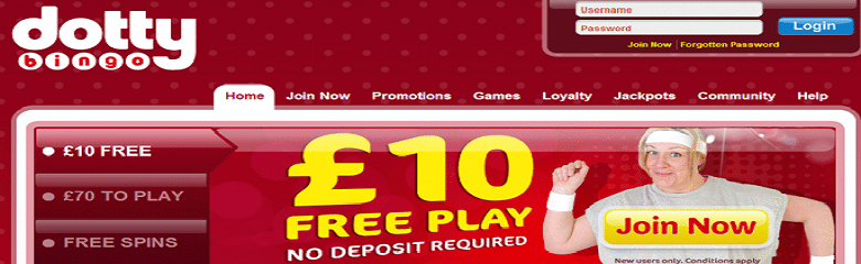£10 free play no deposit necessary - get this offer now at Dotty Bingo