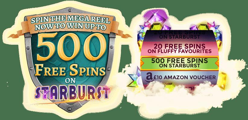 Mega Reel bonus - 500 free spins on Starburst Slot