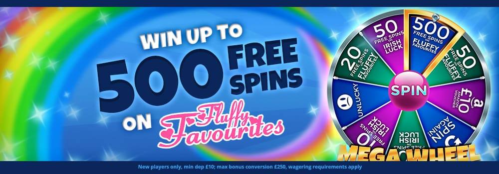 up to 500 free spins on Fluffy favourites Slot