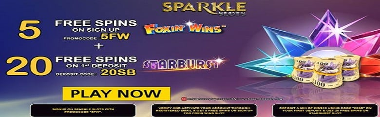 Sparkle Slots a Top 10 slot site with Promo Codes for 5 & 20 Free Spins