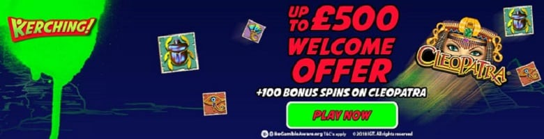 Kerching £500 casino bonus offer + free spins