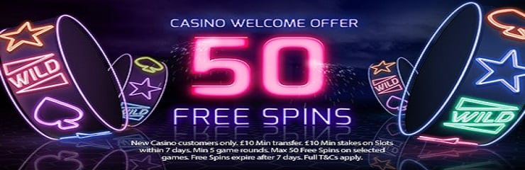 50 free spins on casino games at Betfreds new online site UK