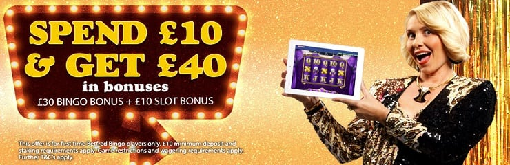 £10 spent on your favourite bingo games gets you £40 back