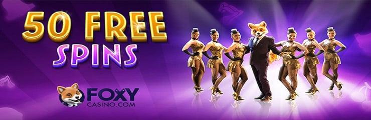 50 free spins foxy's online casino banner