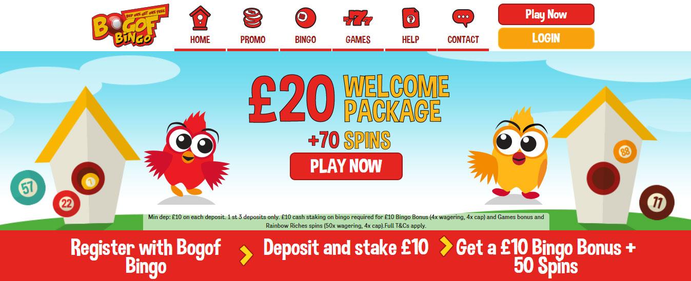 BOGOF Top Online bingo site homepage image