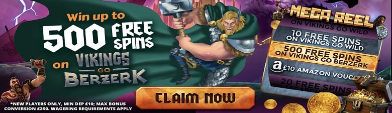 Win up to 500 Bonus Spins on Vikings go Berzerk